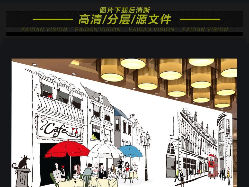 咖啡馆ktv酒店手绘城市背景墙