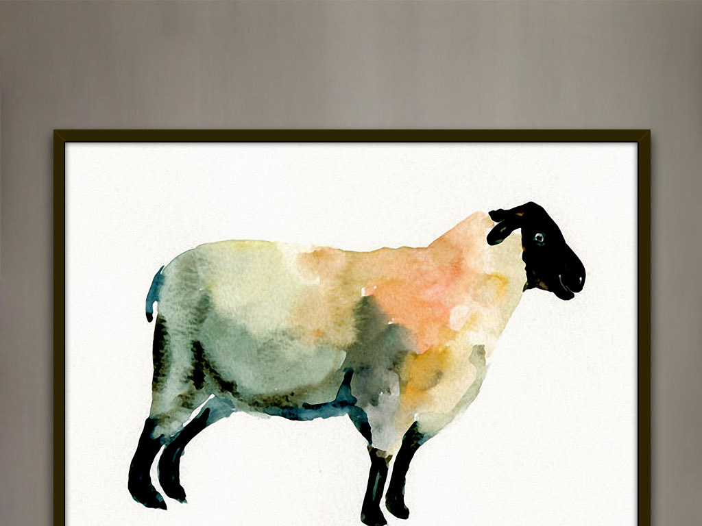 山羊绵羊可爱手绘水彩欧美现代时尚家居装饰