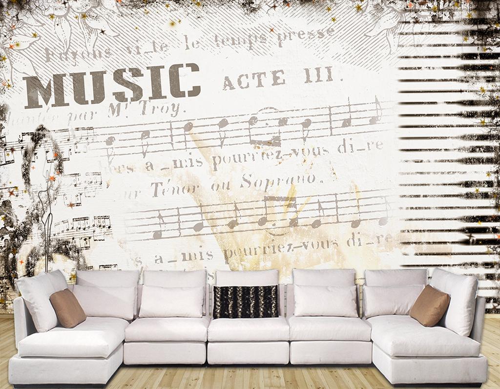 复古音乐五线谱背景墙