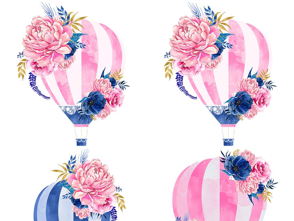手绘热气球花朵素材