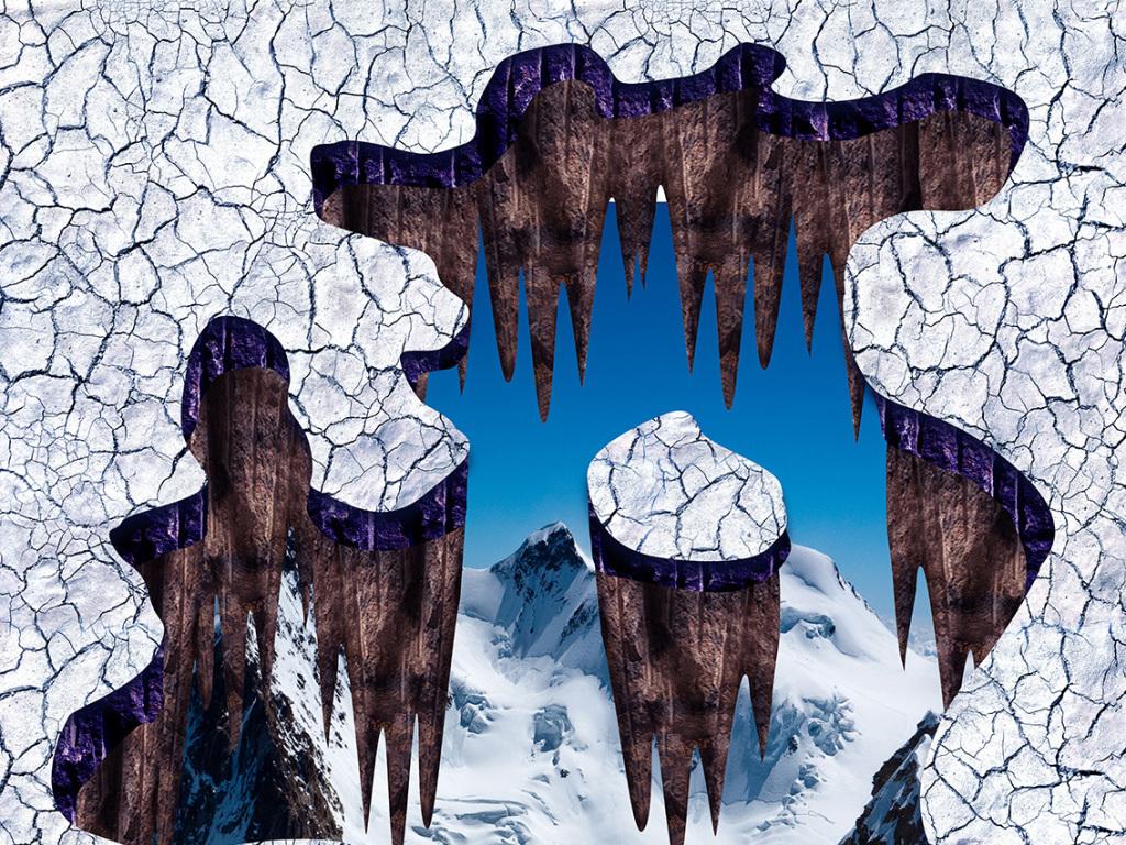 雪山地裂3d立体地画