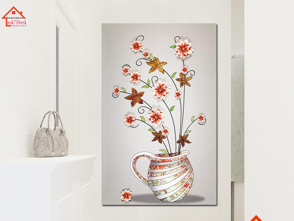 3d立体烤瓷浮雕玉兰花花瓶玄关背景墙