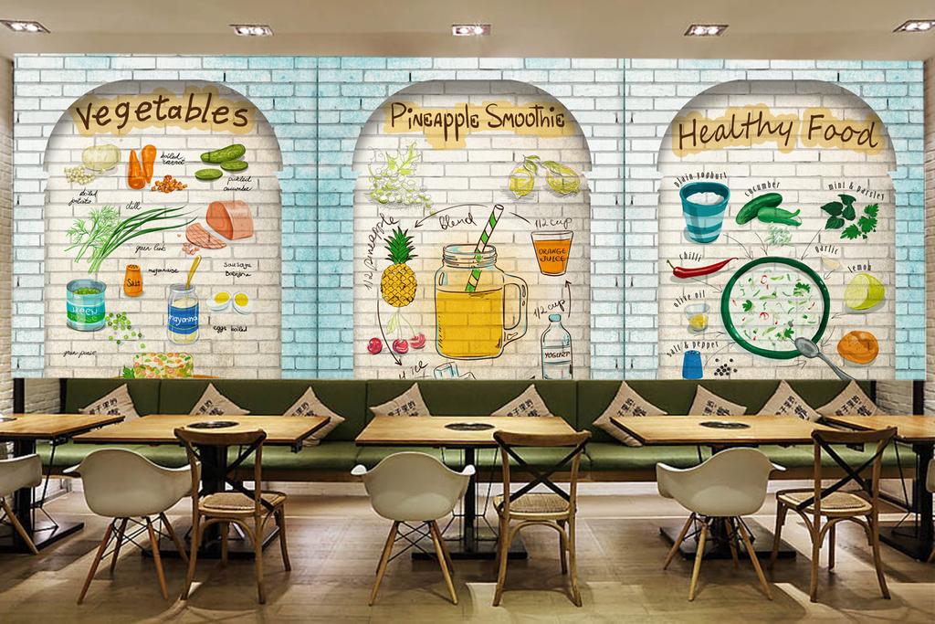 手绘餐厅背景壁画