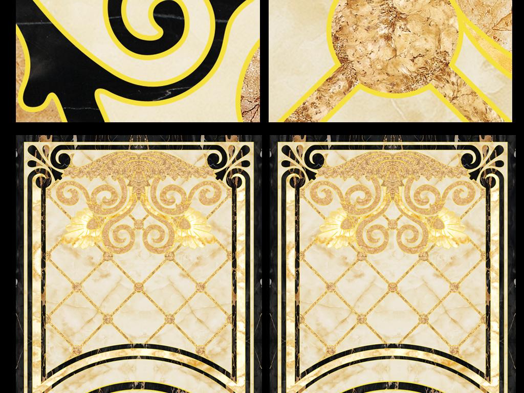无限拼接欧式花纹地砖地板画过道拼花
