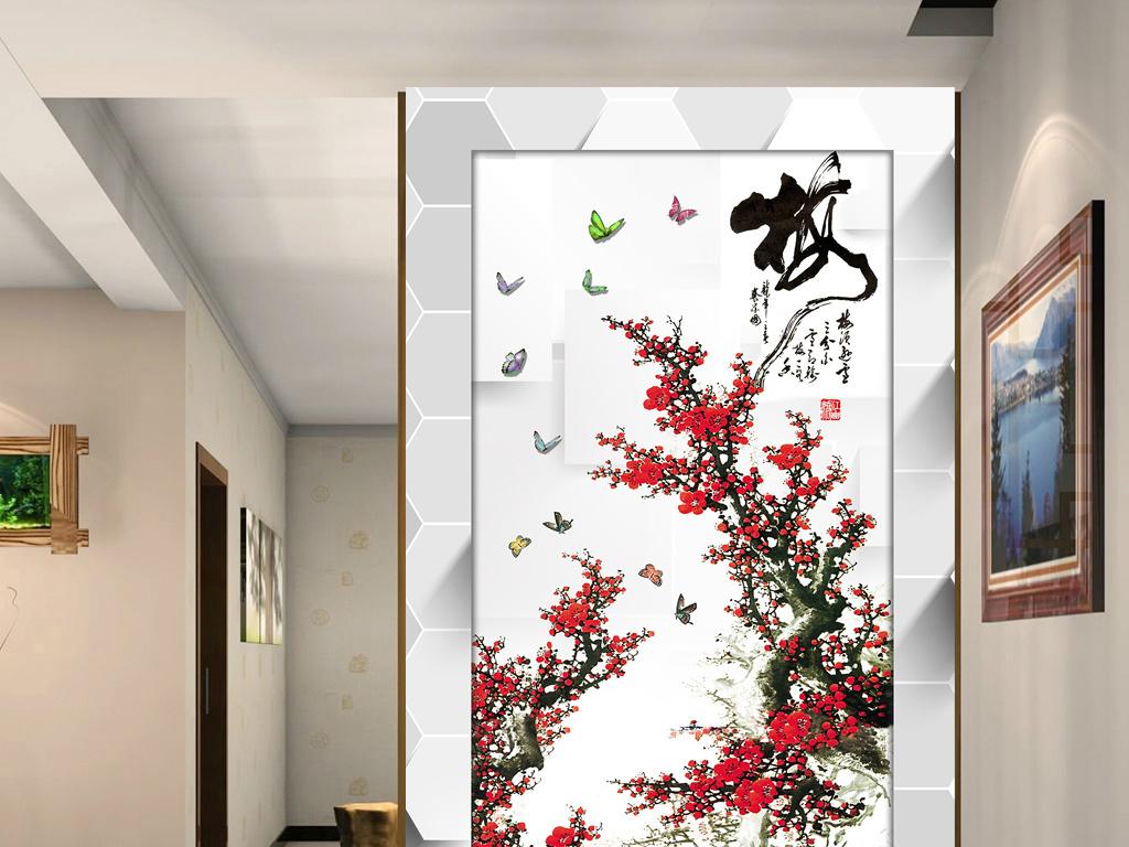 梅花水墨画玄关背景墙(图片编号:15277833)_中式玄关图片