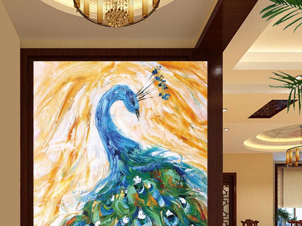 手绘创意动物孔雀装饰画玄关