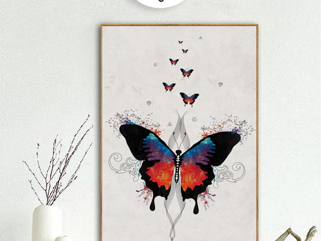 创意手绘蝴蝶无框画