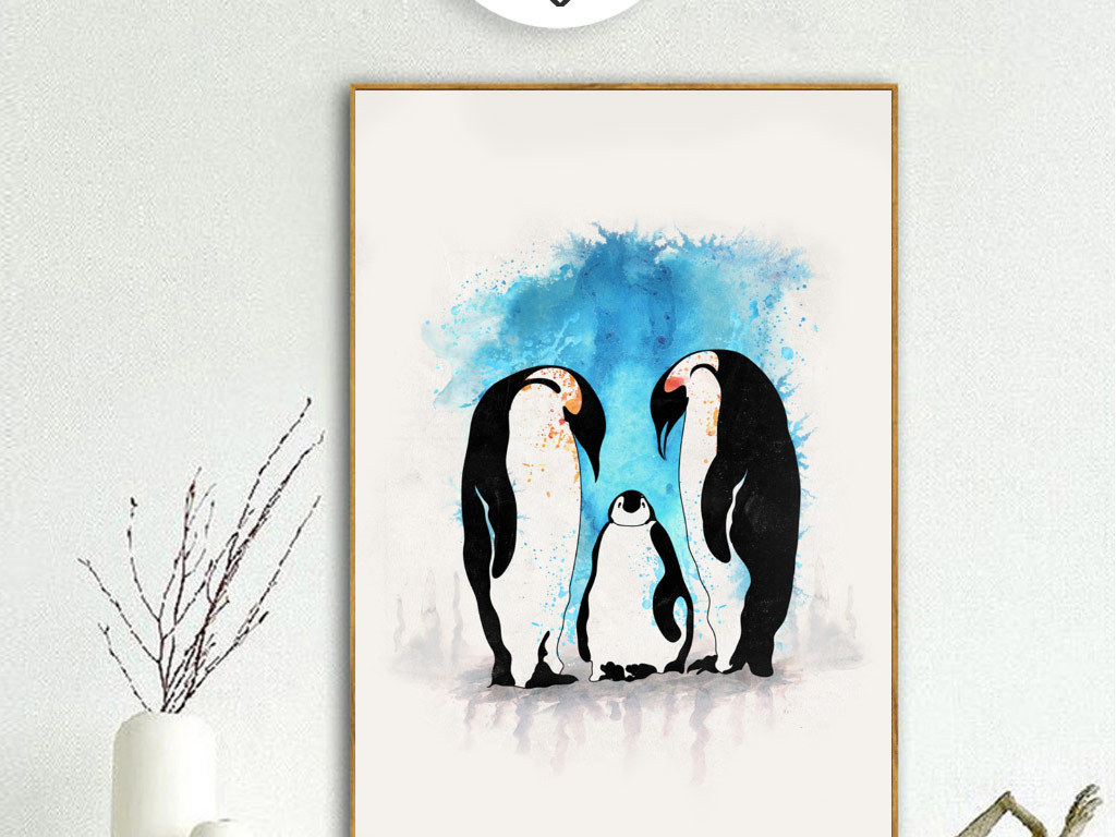 创意手绘企鹅无框画