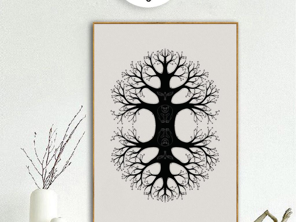 创意黑白手绘大树无框画