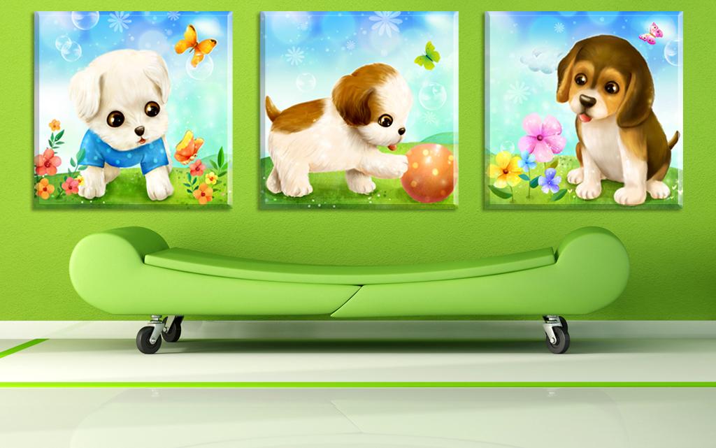 可爱卡通狗狗无框画