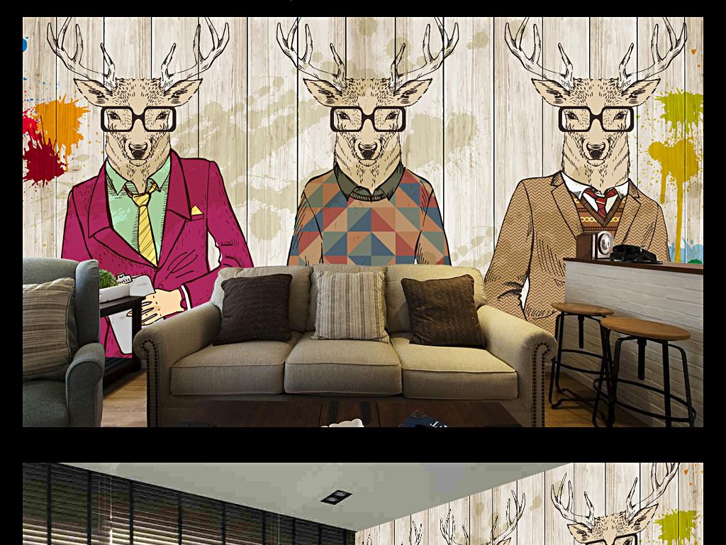 手绘抽象动物时装秀服装店背景装饰墙