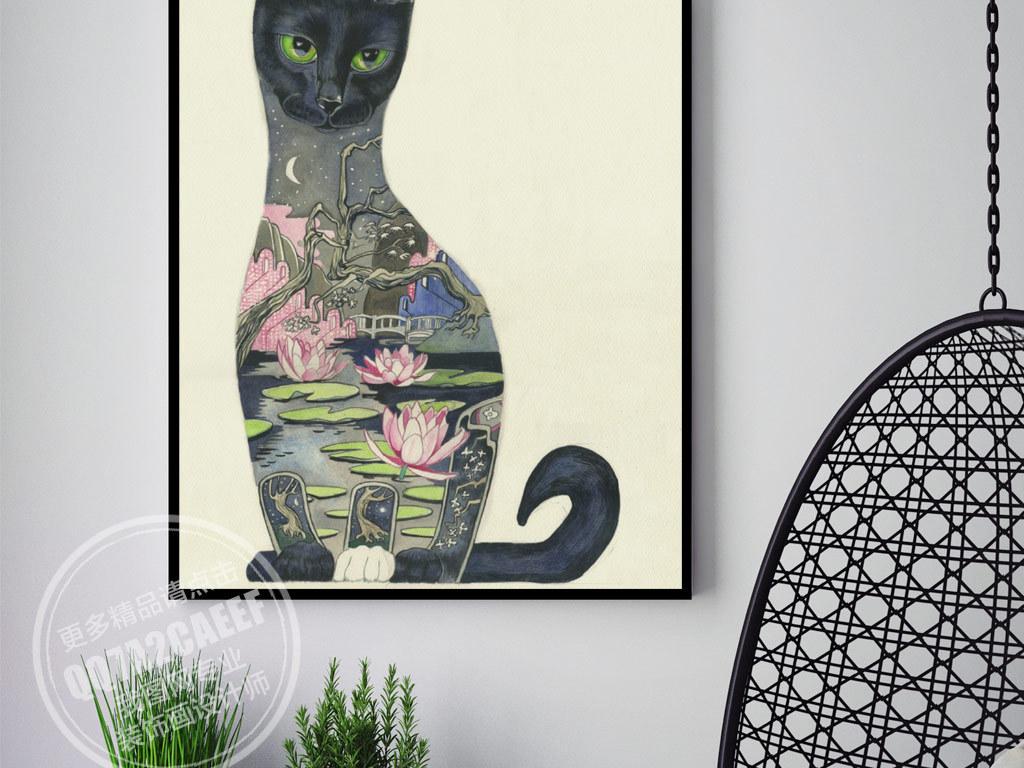 背景墙|装饰画 无框画 动物图案无框画 > 创意手绘猫咪无框画