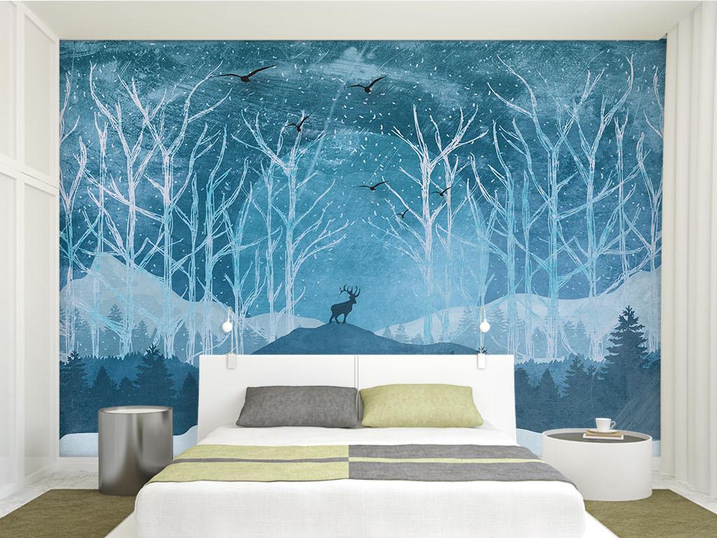 蓝色手绘复古怀旧森林电视背景壁画