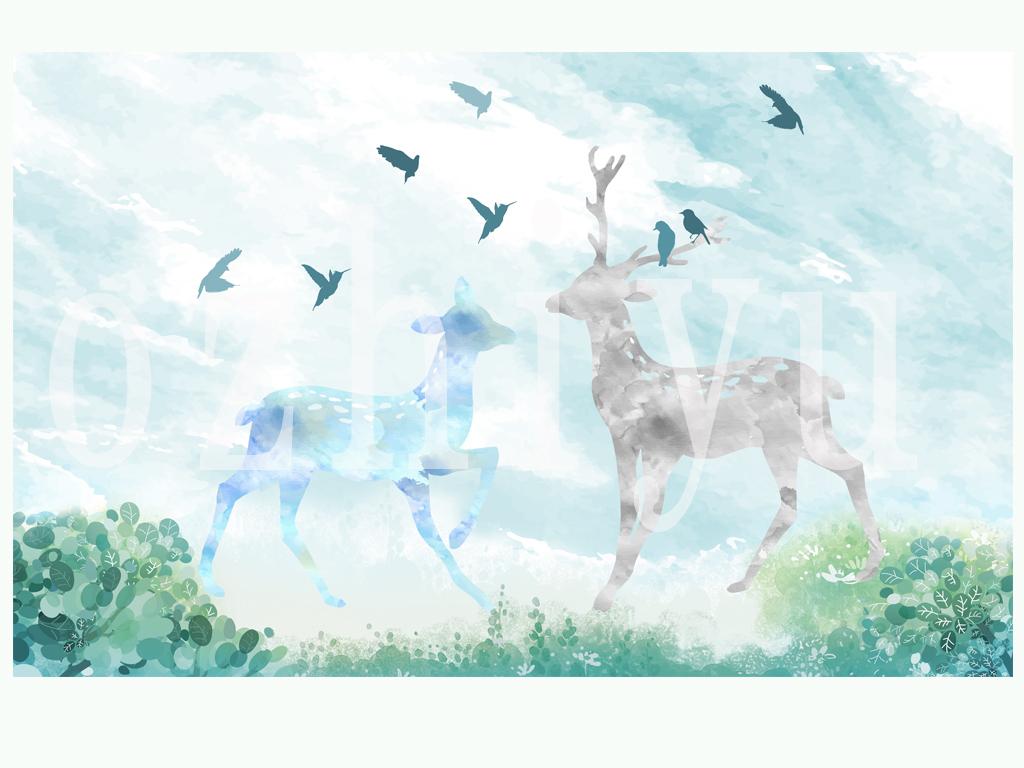 小鹿手绘背景壁画