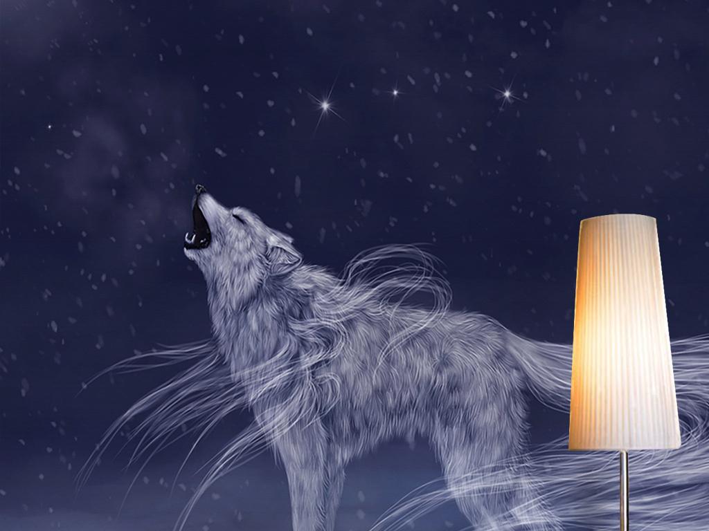 梦幻唯美星空月亮白狼动物风景背景墙