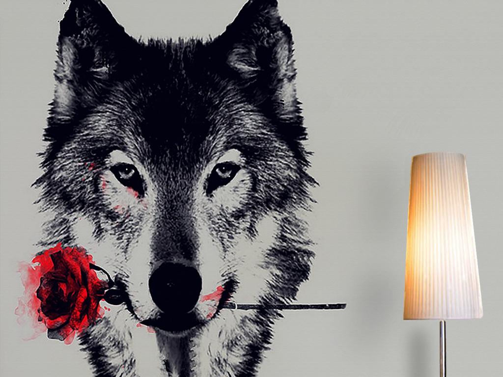 画狼红玫瑰复古手绘电视背景墙