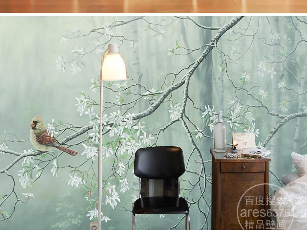 淡雅花鸟油画玉兰树森林壁画背景墙