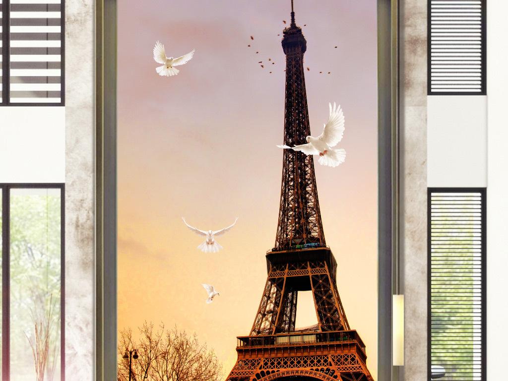 油画现代壁画现代背景墙巴黎埃菲尔铁塔埃尔菲铁塔埃菲尔铁塔素材