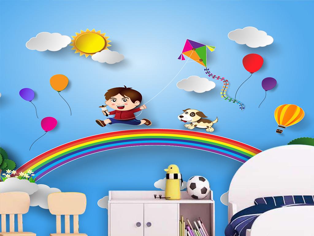 背景墙|装饰画 电视背景墙 儿童房背景墙 > 蓝天白云太阳气球彩虹卡通