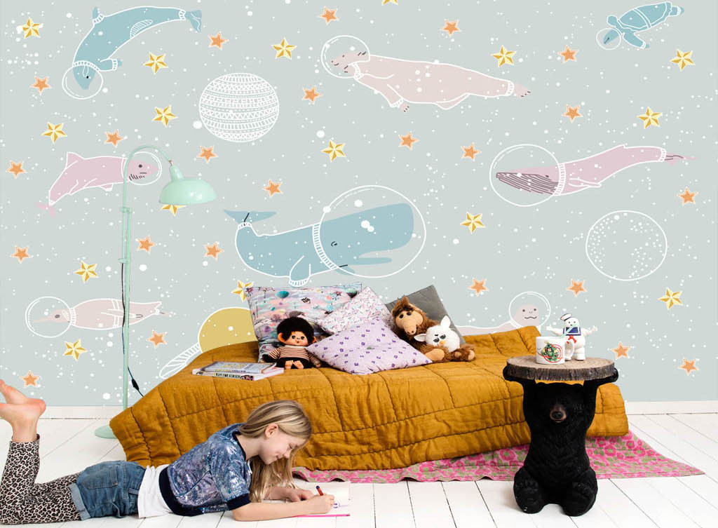 手绘海洋动物儿童房背景墙