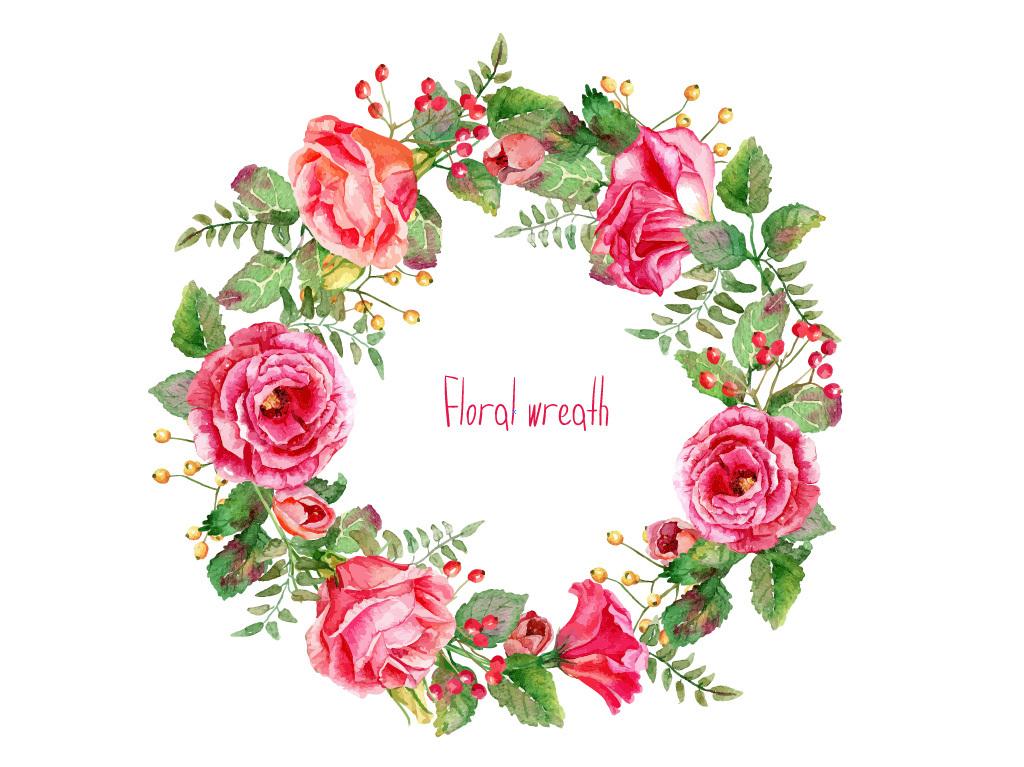 卡通手绘精美玫瑰花花环边框