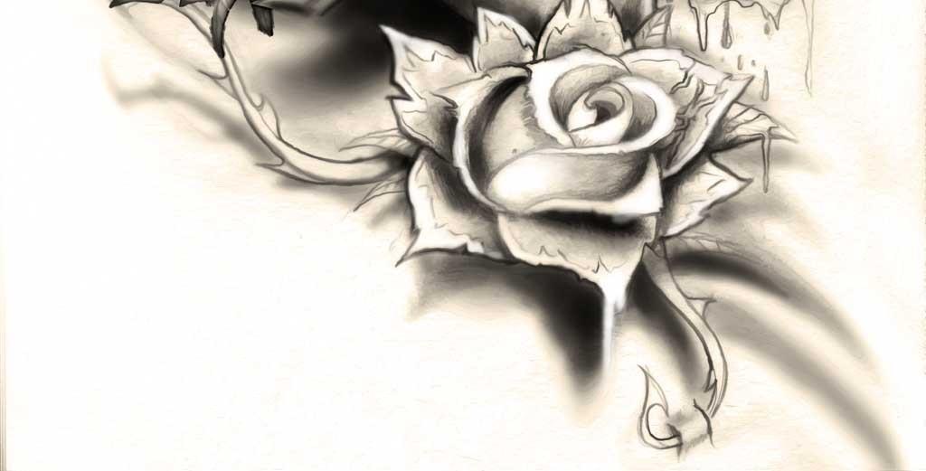 玫瑰花骷髅头纹身