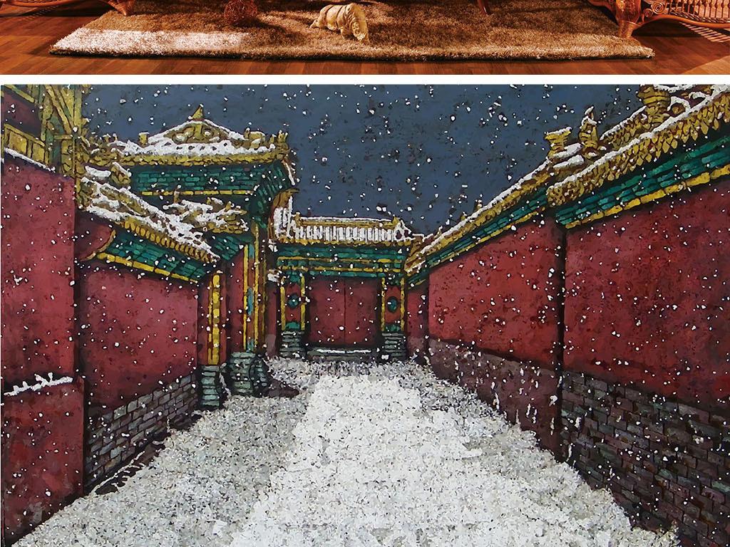 高清故宫背景壁纸手绘