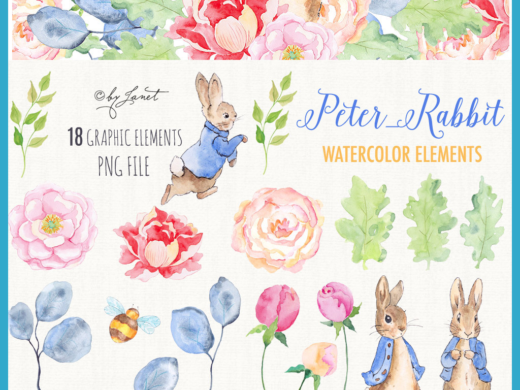 唯美森系兔子手绘水彩png免扣