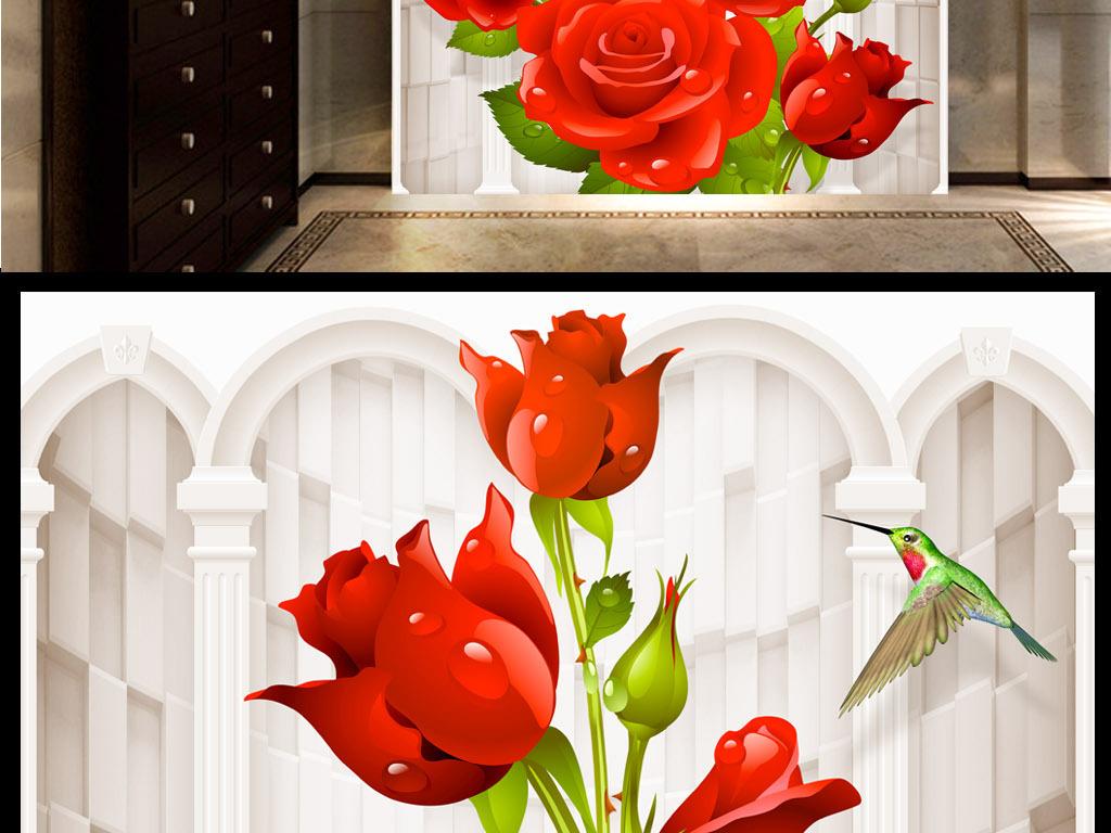 欧式唯美浪漫蜂鸟玫瑰花玄关背景墙