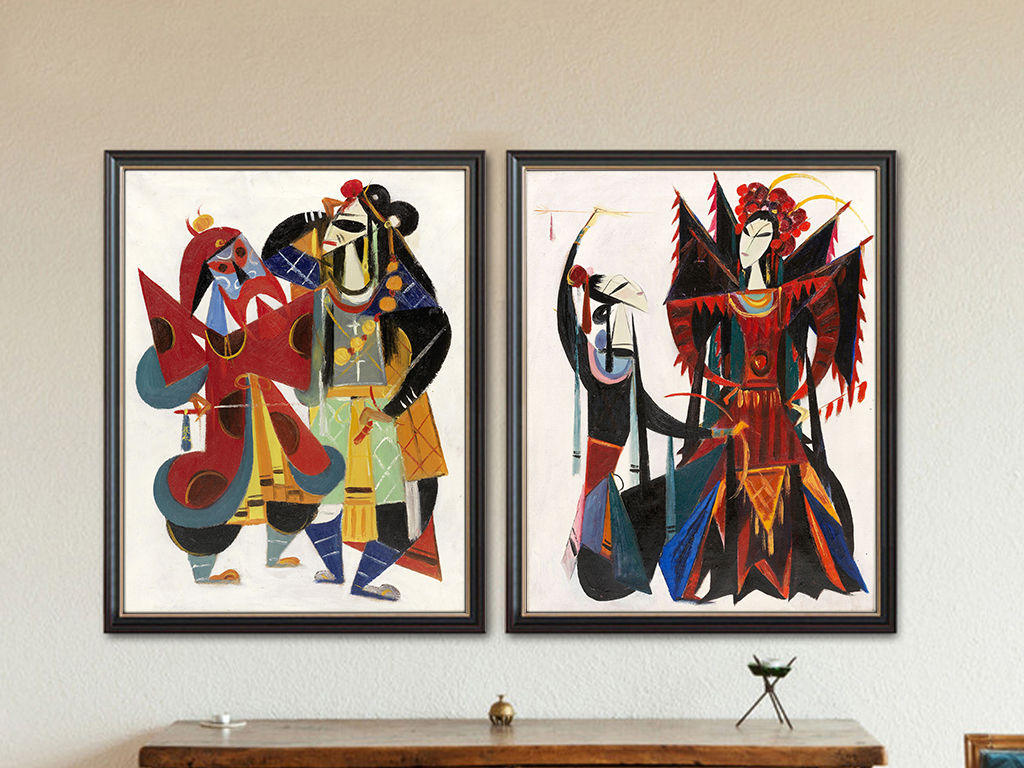 背景墙|装饰画 无框画 中国风无框画 > 手绘戏曲人物插画家居装饰画