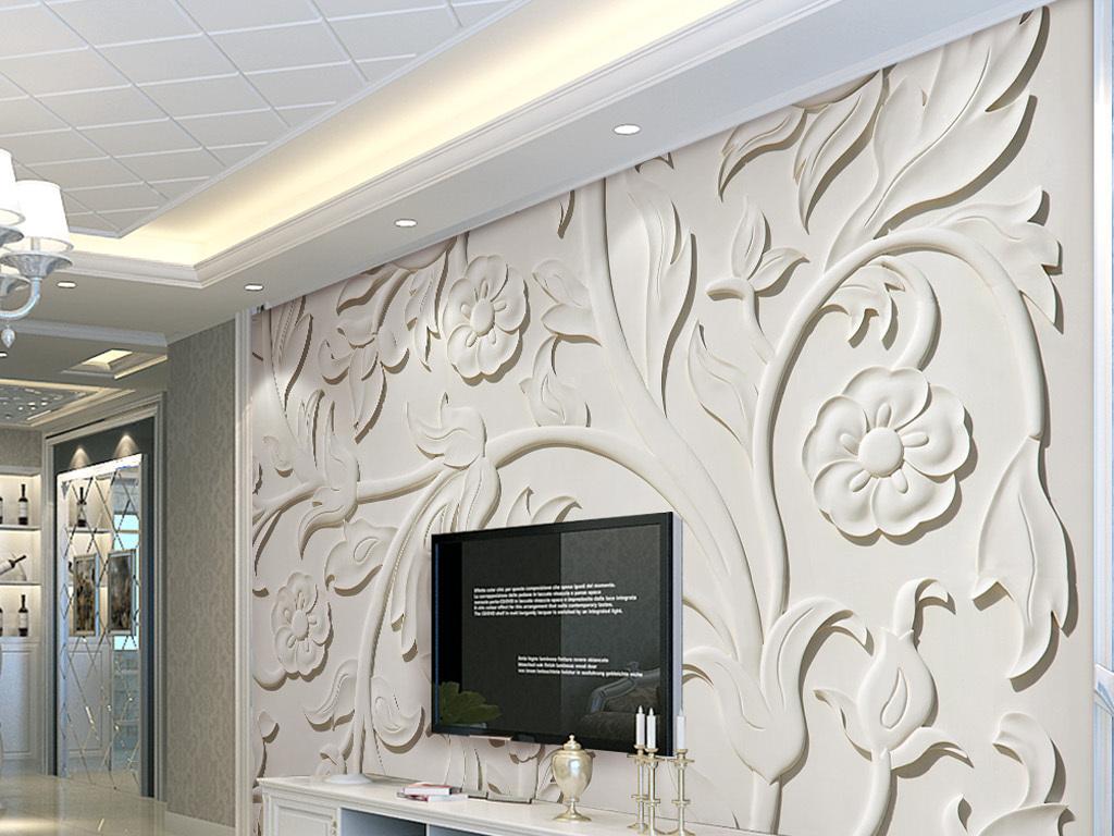 背景墙|装饰画 电视背景墙 浮雕电视背景墙 > 优美3d立体欧式雕花背景