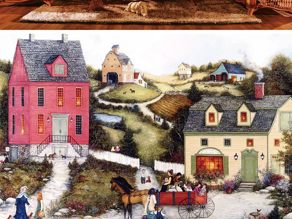 手绘小镇风景色彩