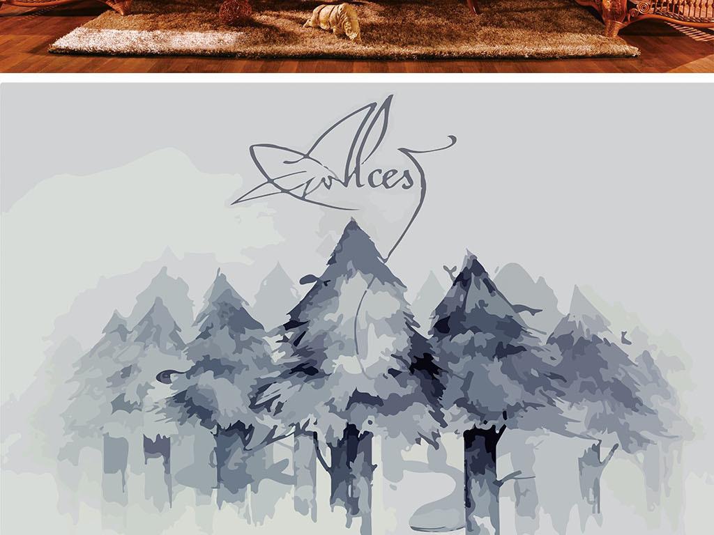 黑白大树手绘壁画