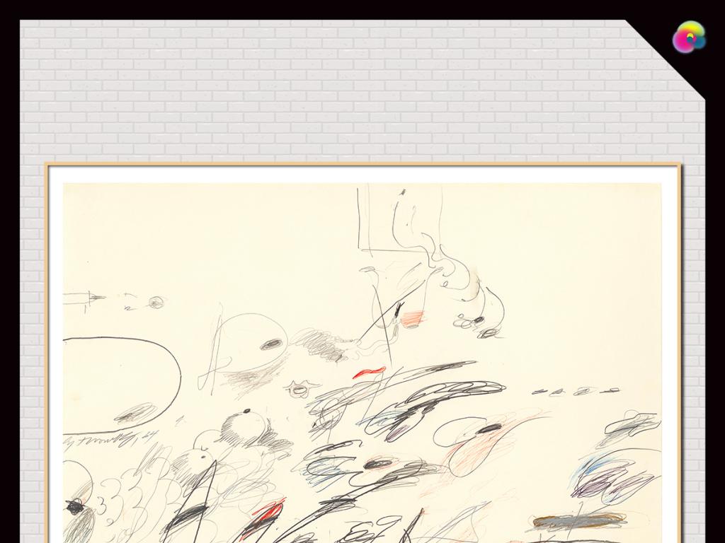 北欧简约手绘抽象线条油画无框画
