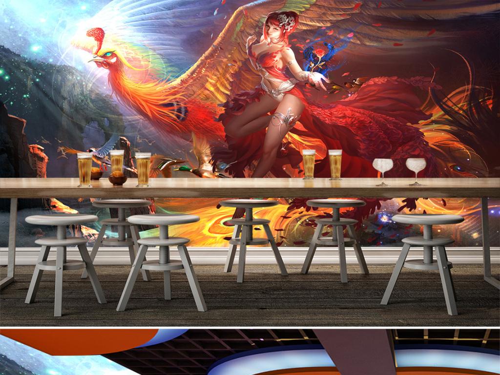 美女凤凰游戏背景墙