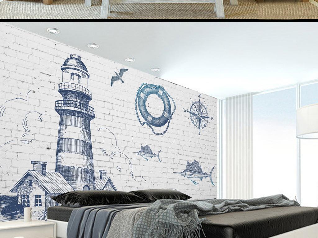 手绘灯塔地中海砖墙电视背景墙