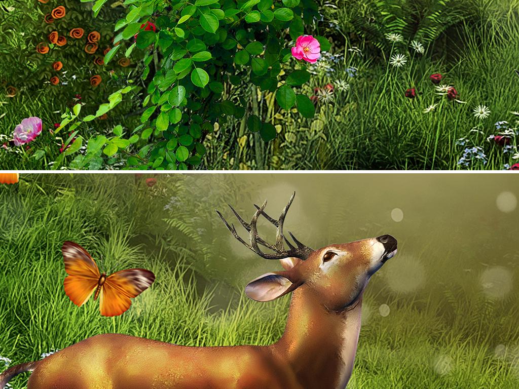 梦幻童话森林小屋花鸟全屋背景墙壁画