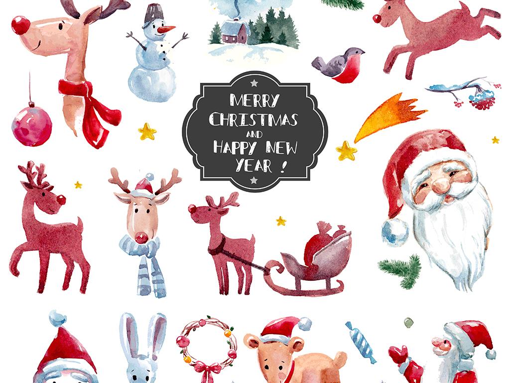 80款时尚手绘水彩圣诞节装饰元素