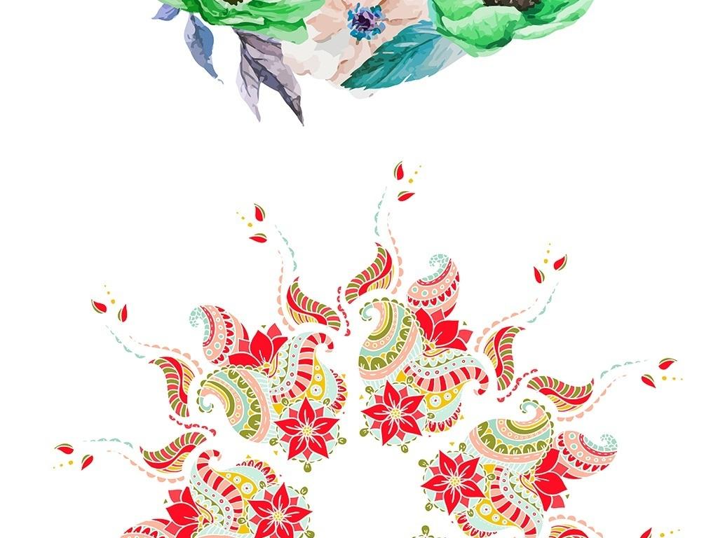 设计元素 其他 装饰图案 > 80款手绘水彩花环水彩绘画元素集合  素材