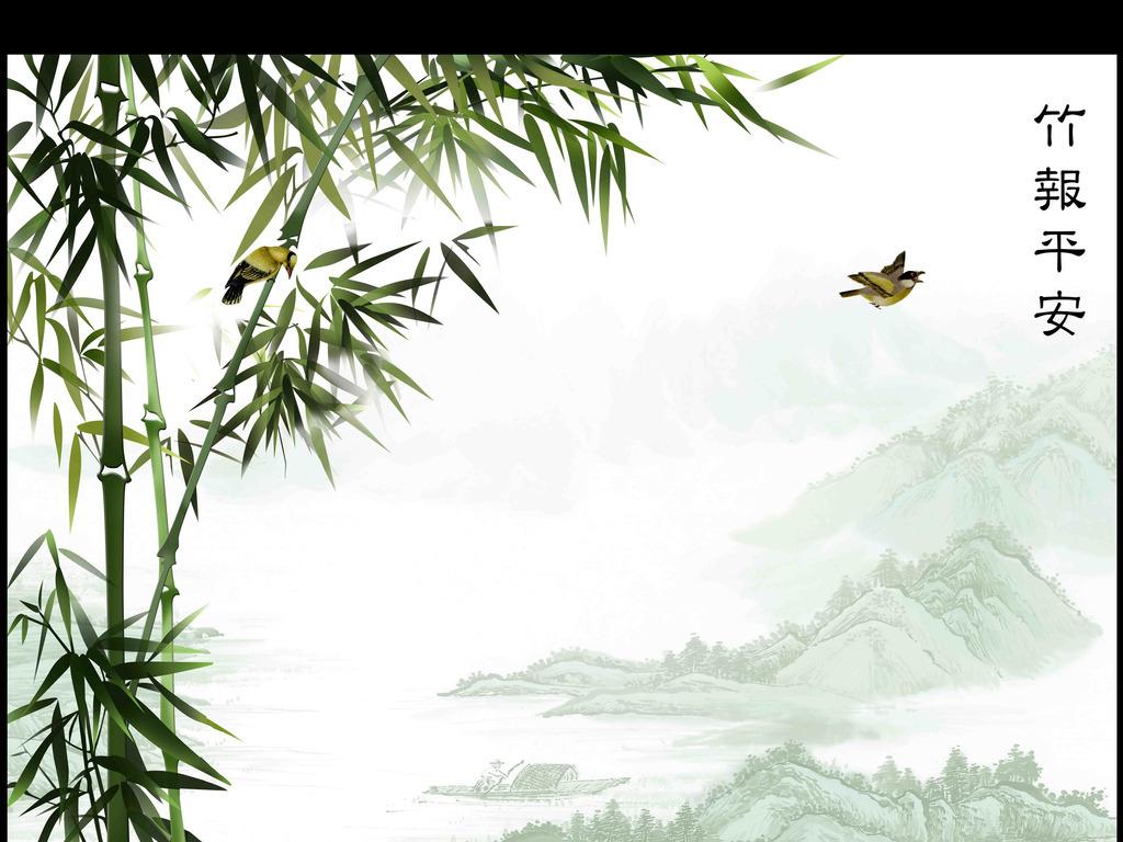 手绘浮雕竹报平安高雅背景墙