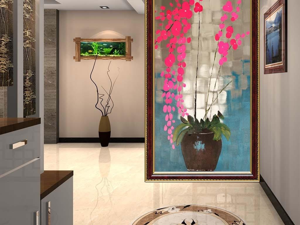 美式复古田园花瓶玄关背景墙图片