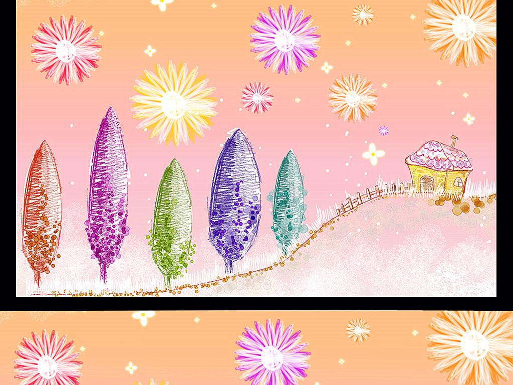 手绘植物花卉花朵树林烟花电视背景墙装饰画