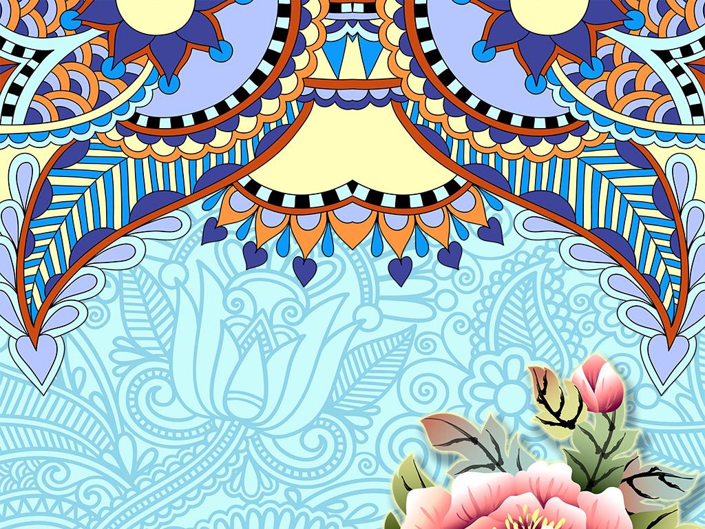 古典民族风花纹牡丹玄关背景图