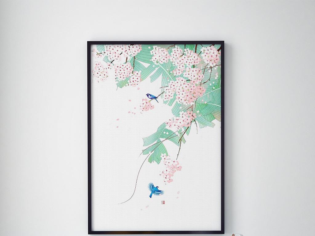 中国风简约时尚樱花花鸟手绘挂画装饰画图片设计素材 高清模板下载 22.74MB 植物花卉无框画大全
