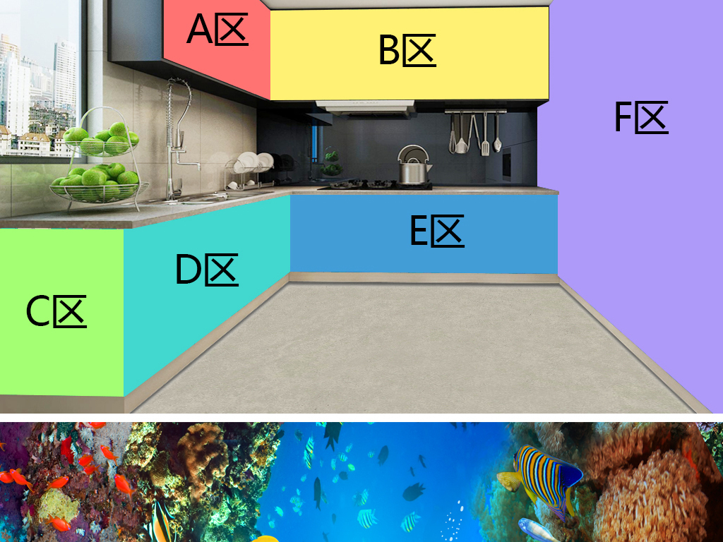 绚丽海底世界立体厨房主题空间背景墙