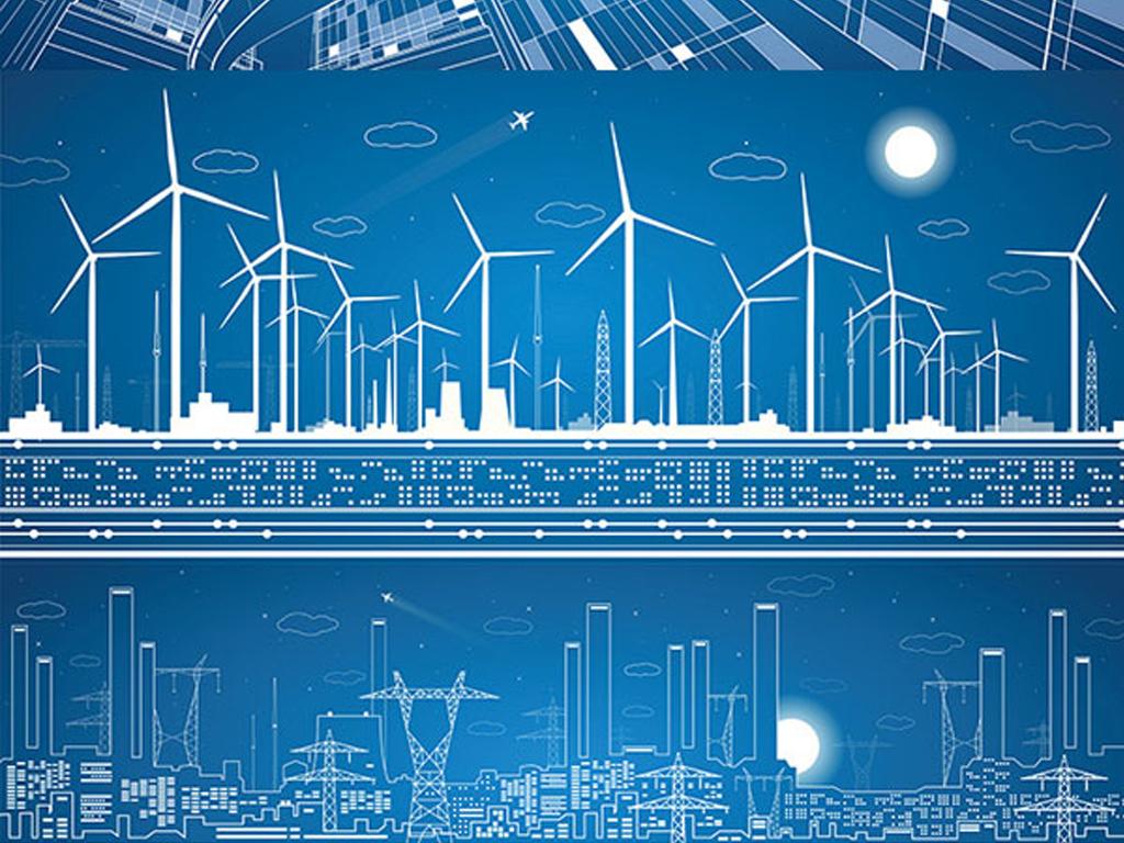 线描建筑创意城市旅游风力发电矢量图图片
