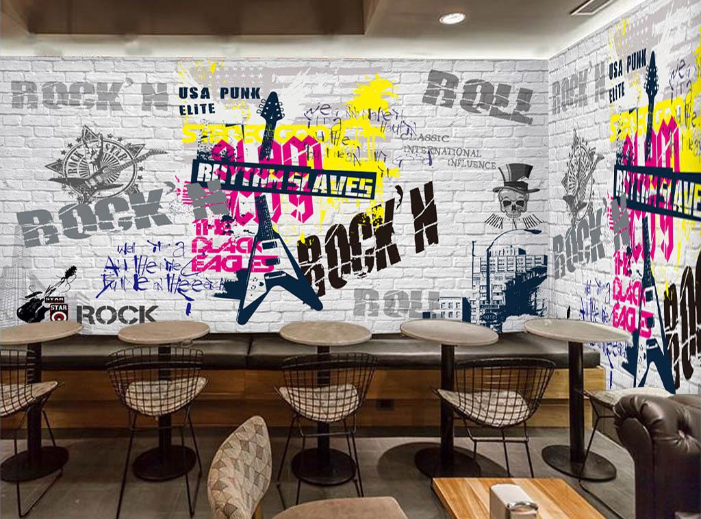 酒吧欧美手绘吉他摇滚英文白砖墙街头涂鸦玻璃电视背景墙图片客厅电视