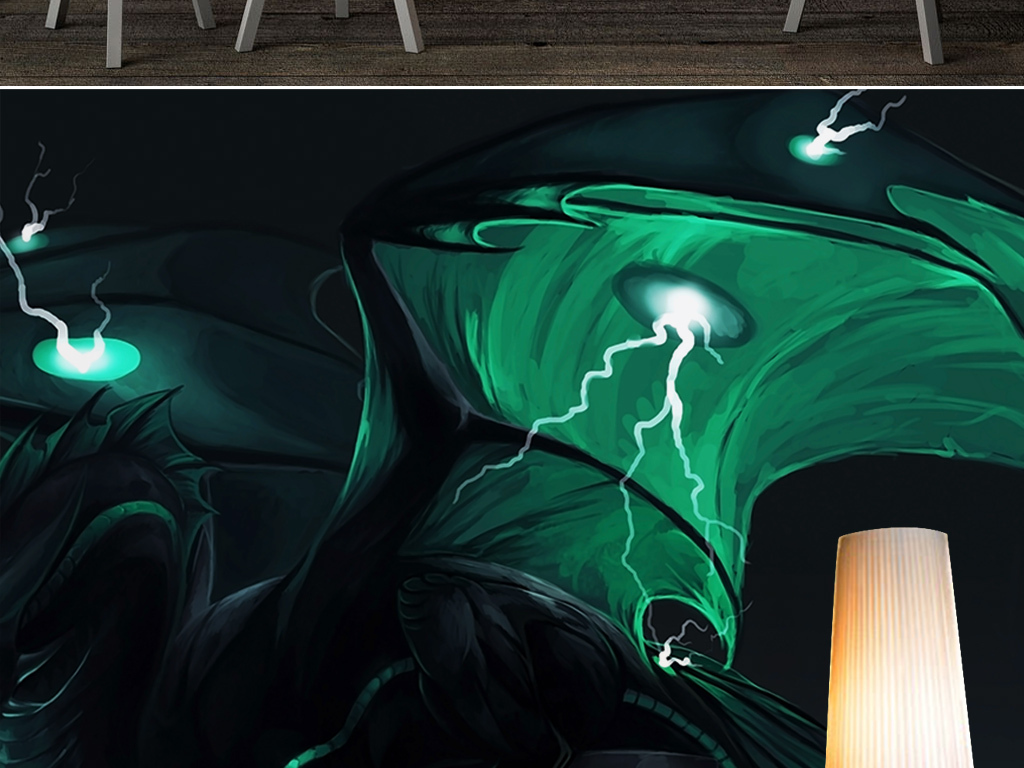 电视背景墙 手绘电视背景墙 > 绿色幽深恐龙翼龙神龙恐怖网吧炫酷背景