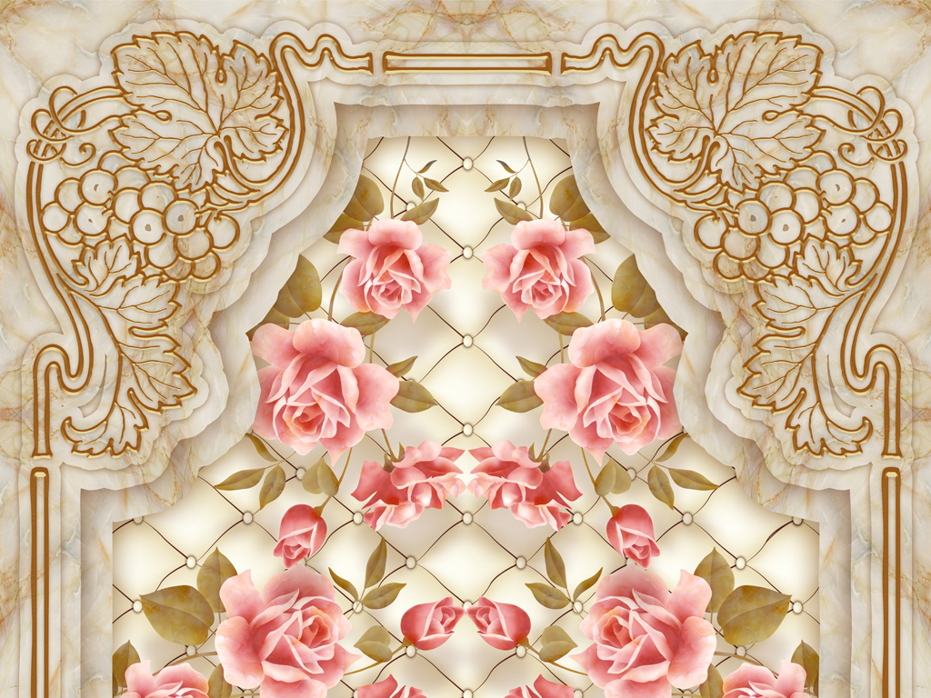 玫瑰花客厅走廊3D地板地砖画
