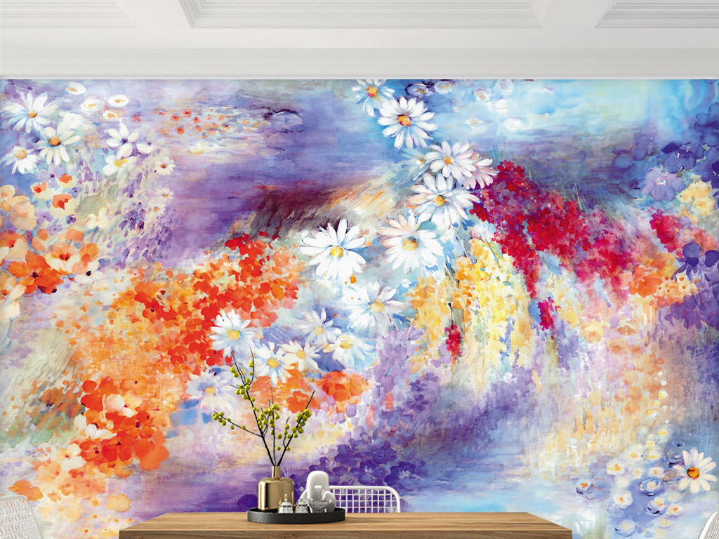 治愈系二次元手绘壁画 位图, rgb格式高清大图,使用软件为花卉背景墙